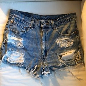 Levi's vintage high waisted denim cut off shorts